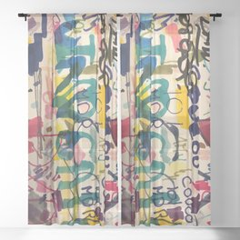 Urban Graffiti Paper Street Art Sheer Curtain