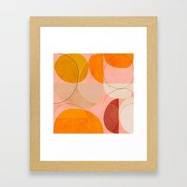 mid century geometry yellow circles abstract art Framed Art Print