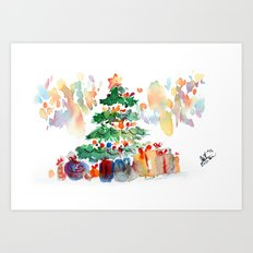 Watercolor Christmas Tree Art Print