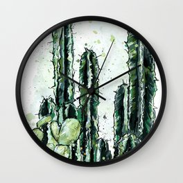 Cactus Long and a friend Wall Clock