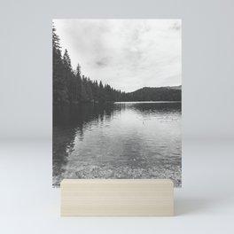 Reflections on black & white lake Mini Art Print