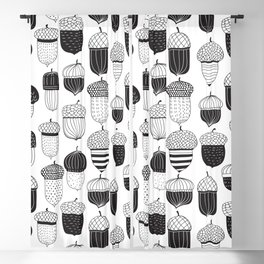 Doodle acorns in black and white Blackout Curtain