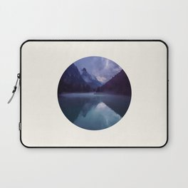 Mid Century Modern Round Circle Photo Reflective Purple And Blue Mountain Silhouette With Lake Laptop Sleeve