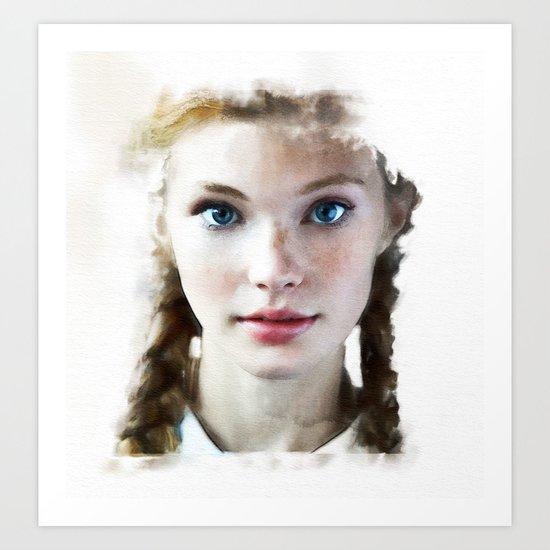 Watercolor portrait - 8 Art Print