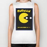 pac man Biker Tanks featuring pac-man by CJones5105