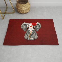 Deep Red Day of the Dead Sugar Skull Baby Elephant Rug