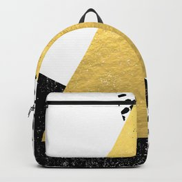Erida - abstract black and white gold triangle painted dots minimalist decor nursery dorm college ar Backpack