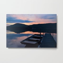 Pretty Adirondack Dawn: Jon Boat and Old Dock Metal Print