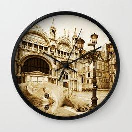 Giant Kitten in Venice (2) Wall Clock