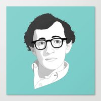 woody allen Canvas Prints featuring Woody Allen by Janko Illustration