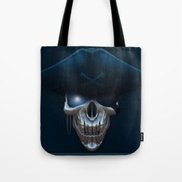 Pirate skull with glowing blue eyes Tote Bag