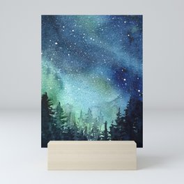Galaxy Watercolor Aurora Borealis Painting Mini Art Print