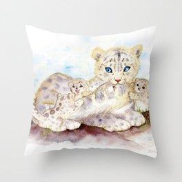 Snow leopard family Throw Pillow