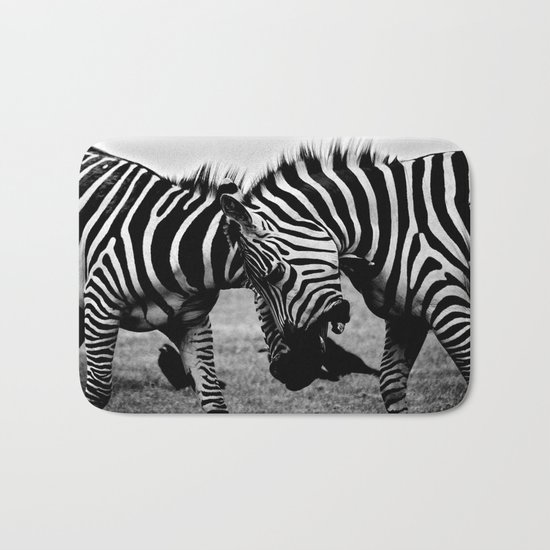 Let's Fight! // Wildlife Zebra Black Adn White Photography #society6 #art #prints Bath Mat