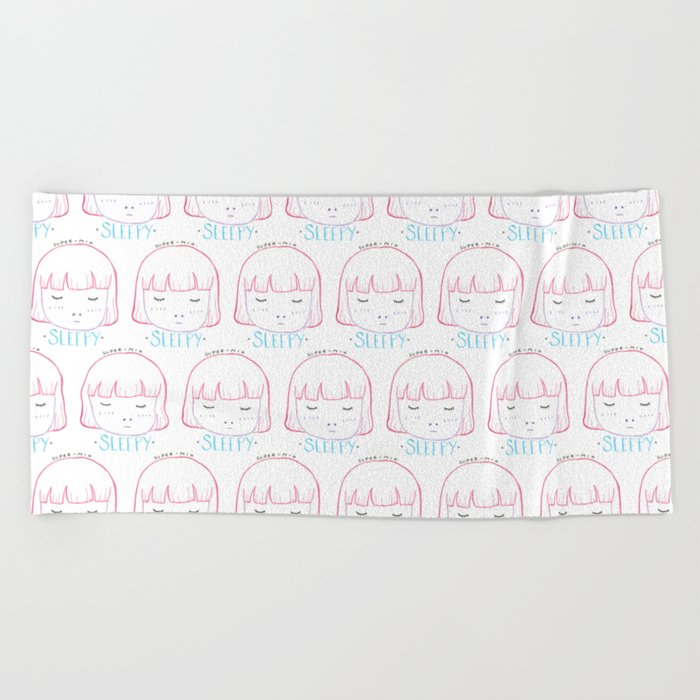Sleepy Girly Beach Towel