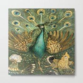Vintage Peacock Print Metal Print