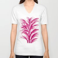 palms V-neck T-shirts featuring Pink Palms by Cat Coquillette
