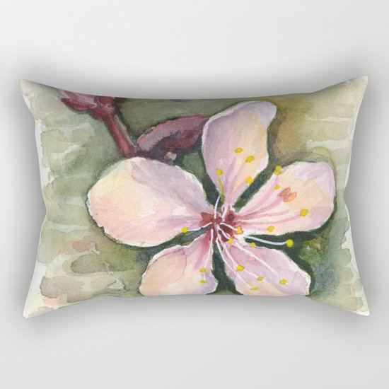 Cherry Blossom Watercolor Painting | Spring Flowers Rectangular Pillow