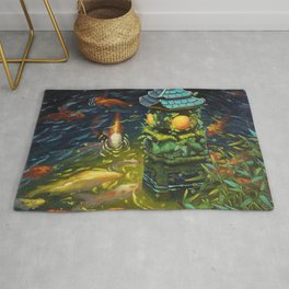 Stone lantern with Koi fishes oil painting Rug