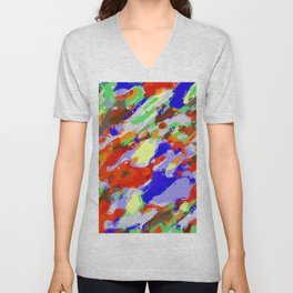 camouflage pattern painting abstract background in red blue green yellow brown purple Unisex V-Neck