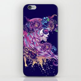 Purple sugar skull iPhone Skin