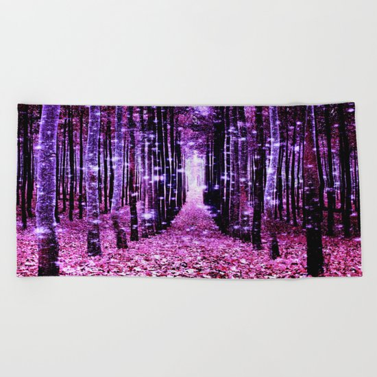 Magical Forest Pink & Purple Beach Towel