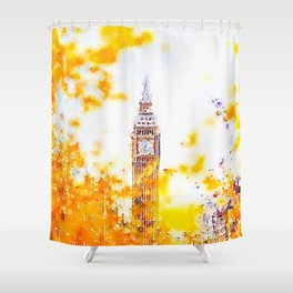 Big Ben in London with Colorful Yellow Autumn Fall Trees Watercolor and Ink Painting Print Shower Curtain