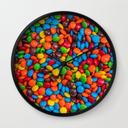 Colorful Candy-Coated Chocolate Pattern Wall Clock