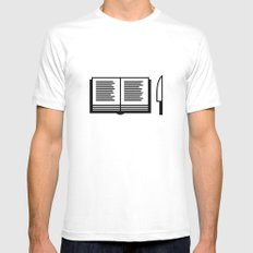 Book White Mens Fitted Tee MEDIUM