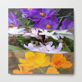 Spring Floral Collage Metal Print