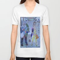 santa monica V-neck T-shirts featuring Santa Monica by Robert E. Richards