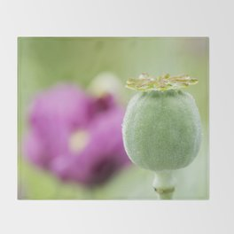 Hungarian Blue Bread Seed Poppy | Seed Pod Alternate Perspective Throw Blanket