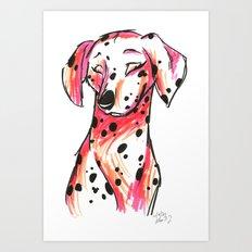 Brush Breeds-Dalmatian Pink Art Print