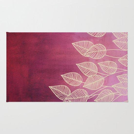 Magenta Garden - watercolor & ink leaves Rug