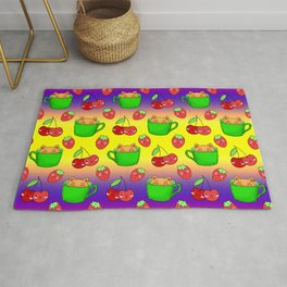 Cute happy funny Kawaii baby kittens sitting in little green espresso coffee cups, ripe red summer cherries and strawberries fruity colorful yellow blue design. Rug
