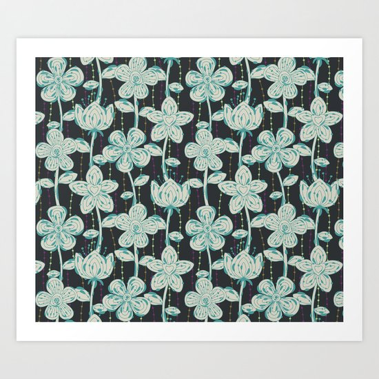 My grey spotted flowers. Art Print