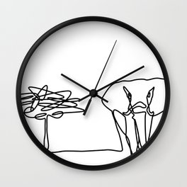 Elephant with Acacia Line Art Wall Clock