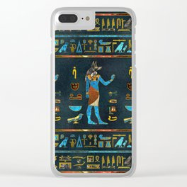 Anubis Egyptian  Gold, Blue and Red glass Clear iPhone Case