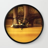shoes Wall Clocks featuring Shoes by Artemysia