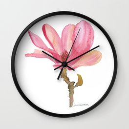 Pink Magnolia Watercolor Floral Wall Clock