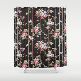 Elegant faux rose gold black stripes vintage blush pink lavender floral Shower Curtain