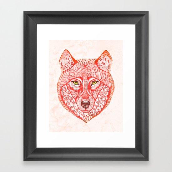 Red wolf Framed Art Print