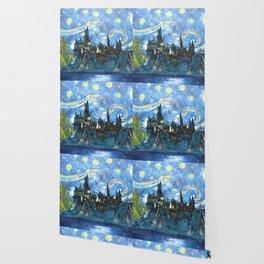 Starry Night in Hogwarts Castle Wallpaper