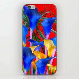 YELLOW & AZURE BLUE CALLA LILIES RED ART iPhone Skin