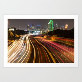 Dallas City Skyline at Night Art Print