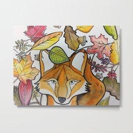 """""""Fal Fox"""" Watercolor Fox Art Metal Print"""