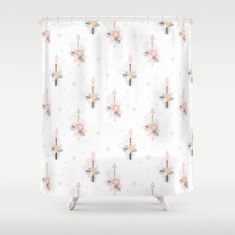 Bohemian pastel pink ivory blue hand painted arrows floral Shower Curtain