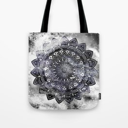 Galaxy Space Mandala (Black and White & Gray Scale) Mystical Adventurous Tote Bag