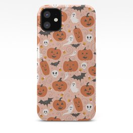 Pumpkin Party on Blush Pink iPhone Case