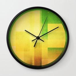 green and gold circles  Wall Clock